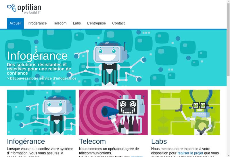 Capture d'écran du site de Optilian