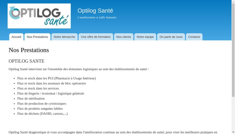 Capture d'écran du site de Optilog Sante