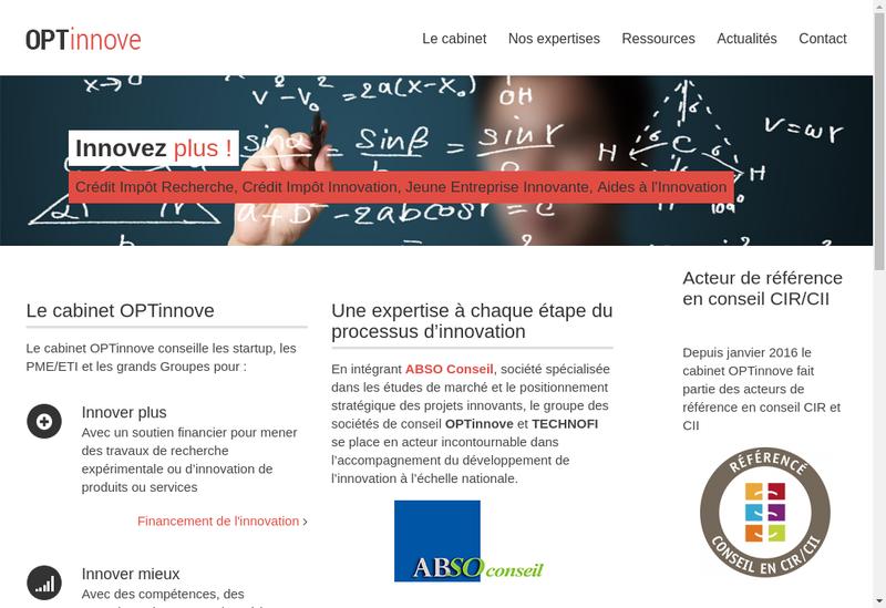 Capture d'écran du site de Optinnove