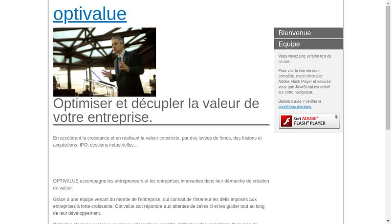 Capture d'écran du site de Optivalue