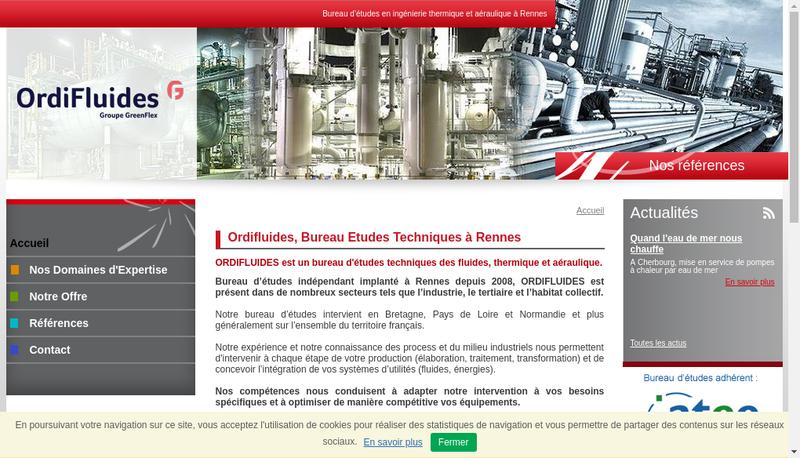 Capture d'écran du site de Ordifluides - Archimede Conseil