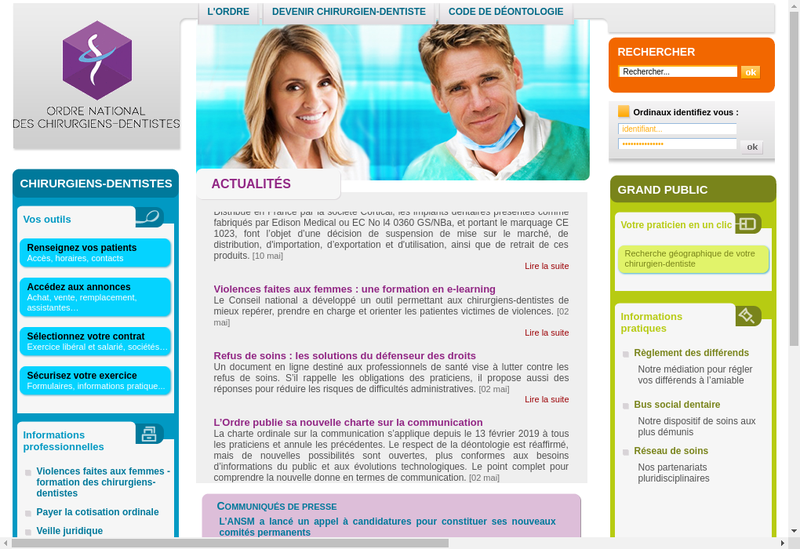 Capture d'écran du site de Dental Harmony