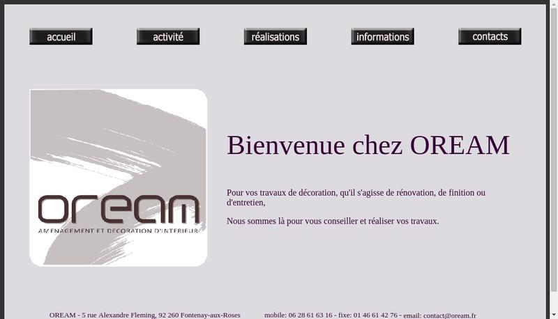 Capture d'écran du site de Oream