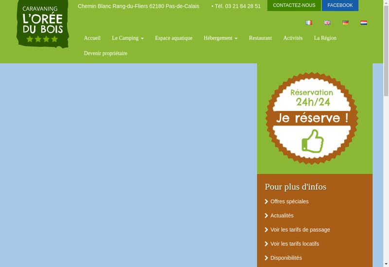Capture d'écran du site de L'Oree du Bois