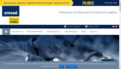 Capture d'écran du site de Orexad