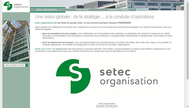 Capture d'écran du site de Setec Organisation