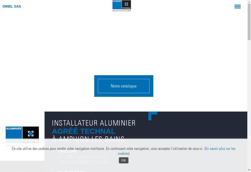 Capture d'écran du site de Oriel