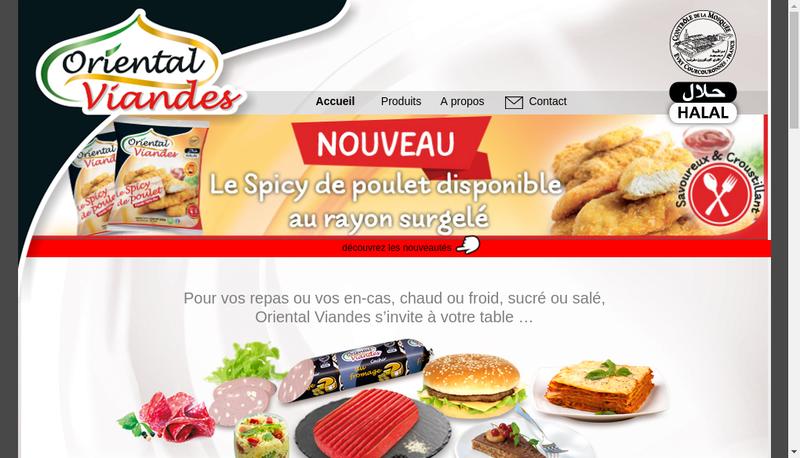 Capture d'écran du site de Oriental Viandes