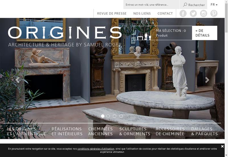 Capture d'écran du site de Origines