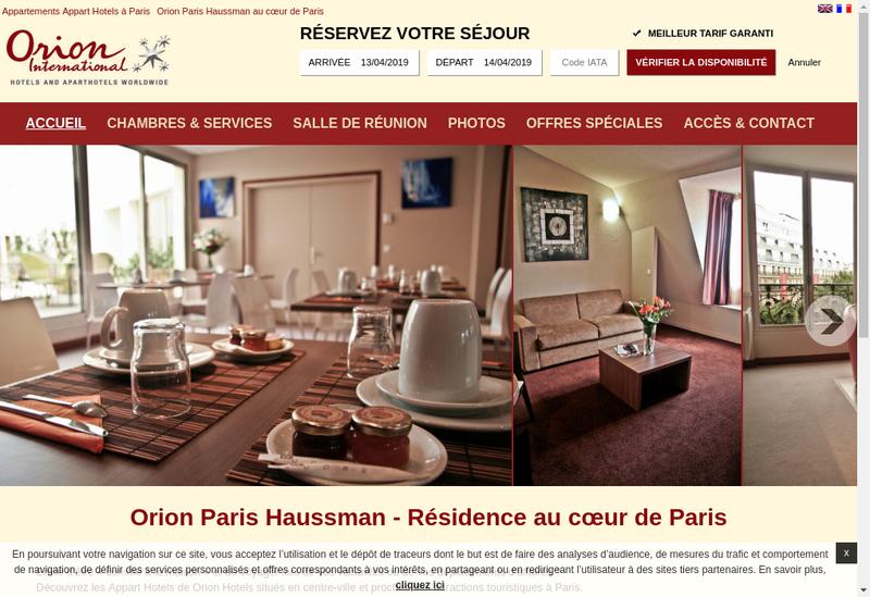 Capture d'écran du site de Orion International Mobility