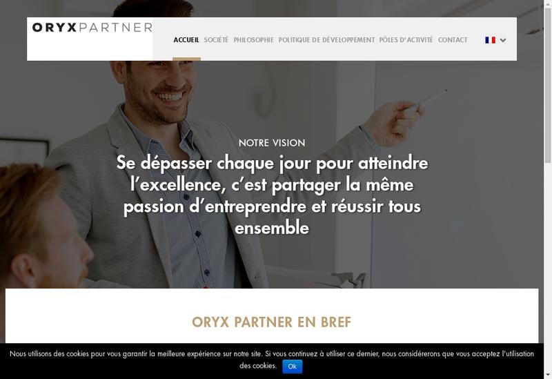 Capture d'écran du site de Oryx Partner
