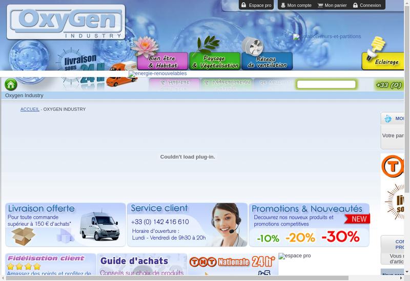 Capture d'écran du site de Oxygen Industry