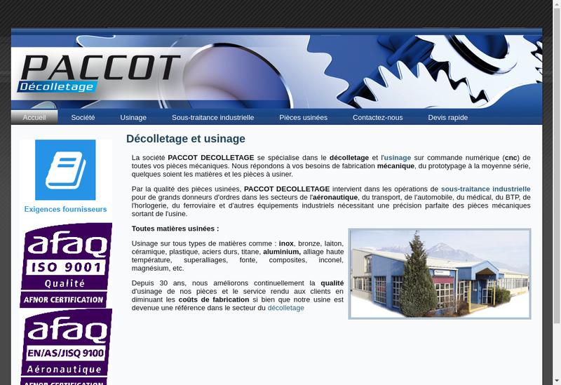 Capture d'écran du site de Paccot Decolletage