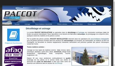 Site internet de Paccot Decolletage