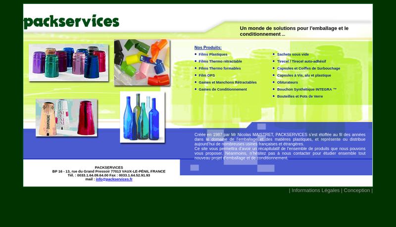 Capture d'écran du site de Packservices
