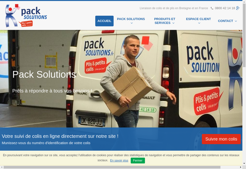 Capture d'écran du site de Pack Solutions