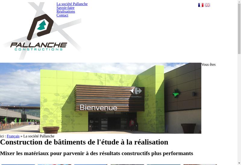 Capture d'écran du site de Pallanche Constructions