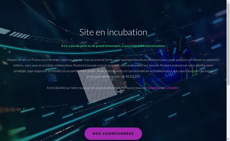 Capture d'écran du site de Pandora Concept