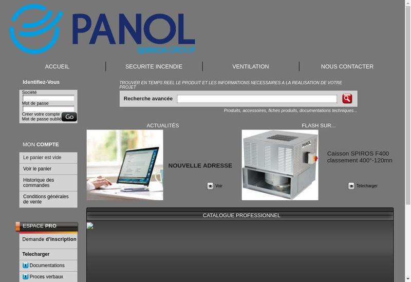 Capture d'écran du site de Panol