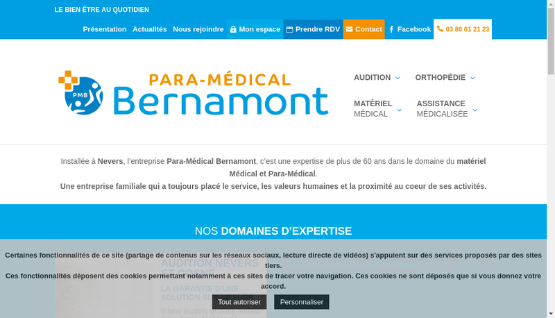Capture d'écran du site de Para Medical Bernamont