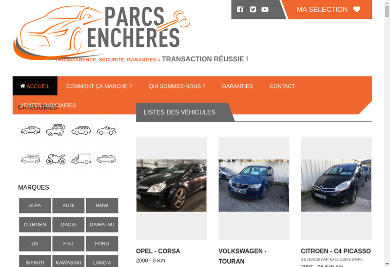 Capture d'écran du site de Parcs Encheres
