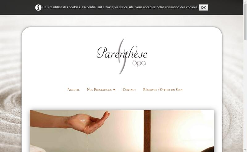 Capture d'écran du site de Parenthese Spa