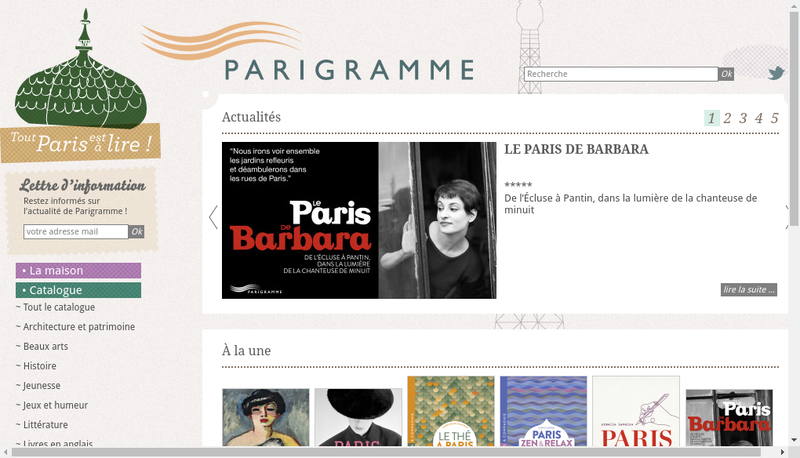 Capture d'écran du site de Editions Parigramme