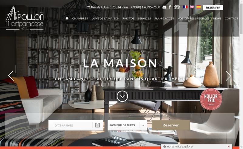 Capture d'écran du site de Hotel Apollon Montparnasse