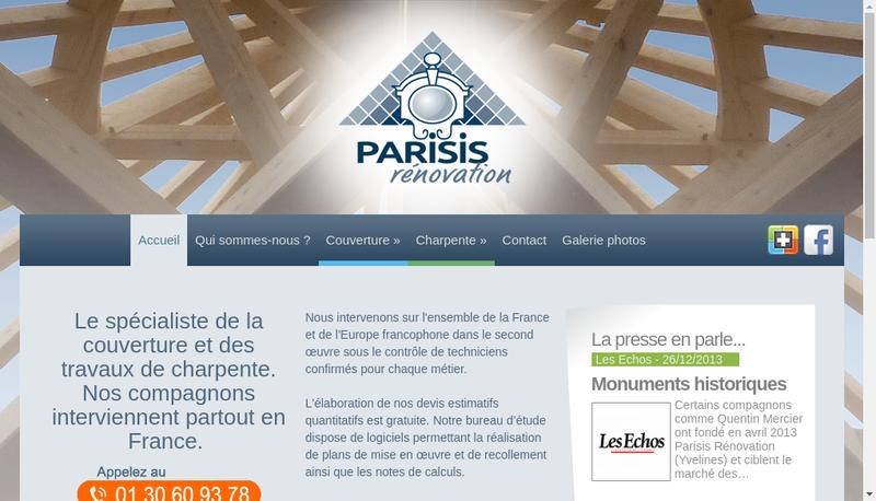 Capture d'écran du site de Parisis Renovation
