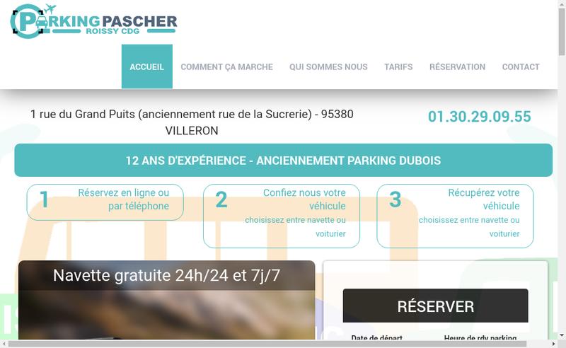Capture d'écran du site de Parking Pascher