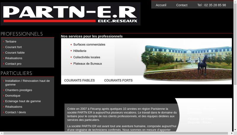 Capture d'écran du site de Partn Elec Reseau