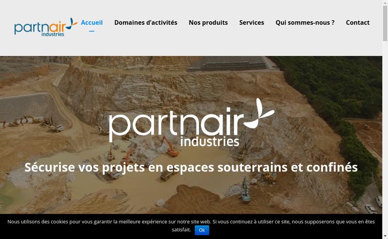 Capture d'écran du site de Partnair Industries