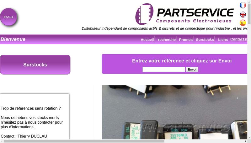 Capture d'écran du site de Partservice