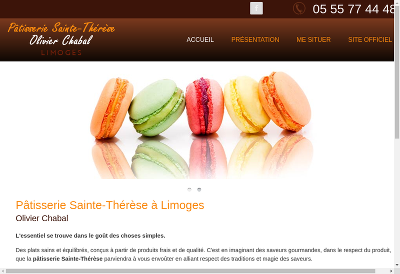 Capture d'écran du site de Patisserie Sainte Therese