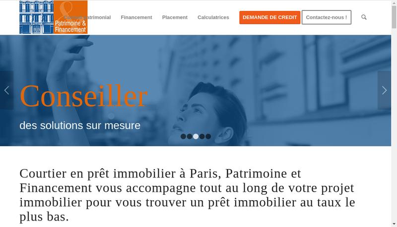 Capture d'écran du site de Patrimoine et Financement