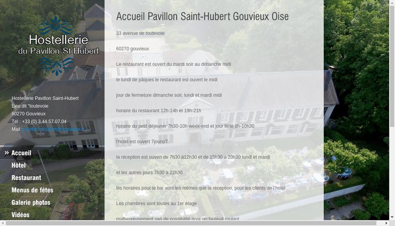 Capture d'écran du site de Hostellerie Saint Hubert