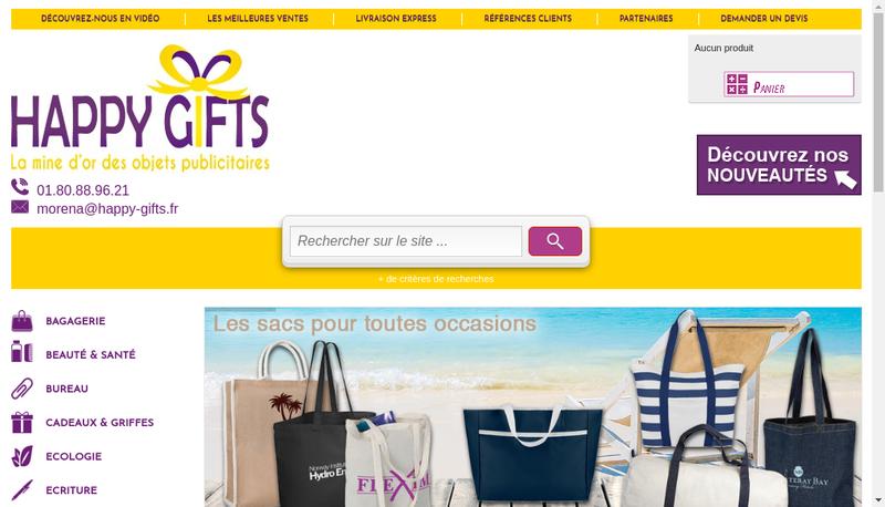 Capture d'écran du site de HAPPY GIFTS