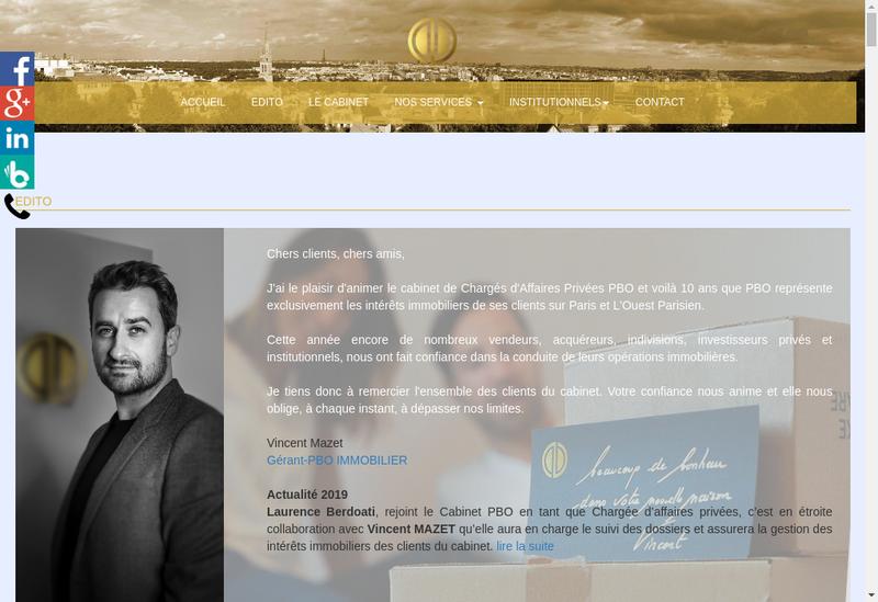 Capture d'écran du site de Vincent Mazet