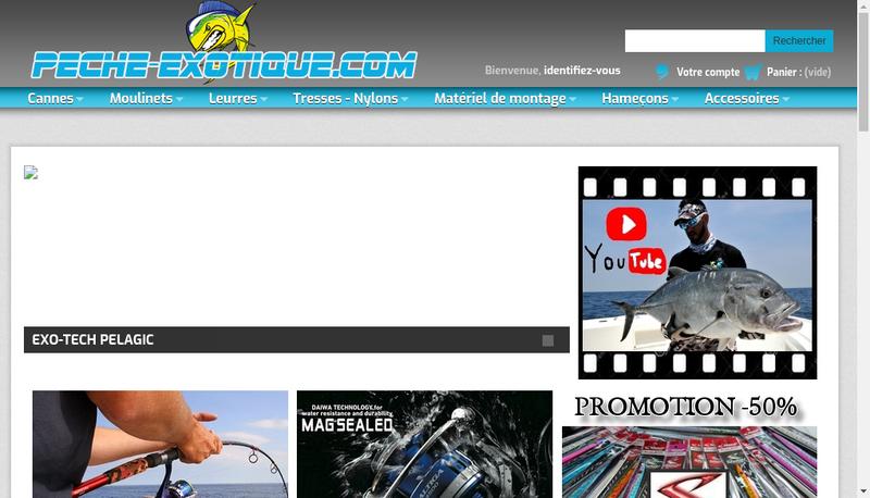 Capture d'écran du site de Peche Exotique