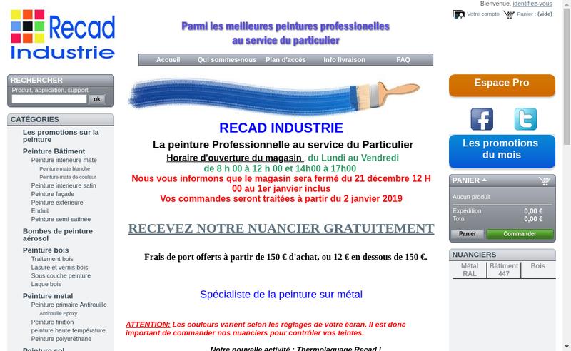 Capture d'écran du site de Recad Industrie