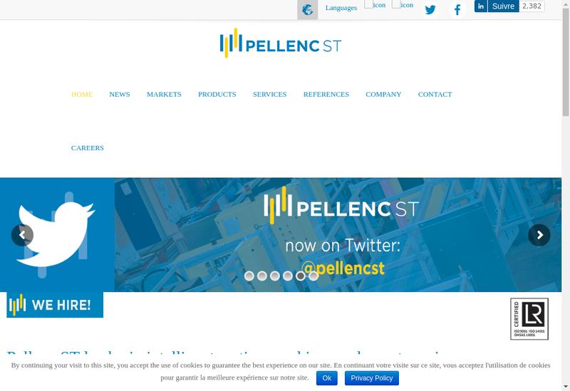 Capture d'écran du site de Pellenc Selective Technologies