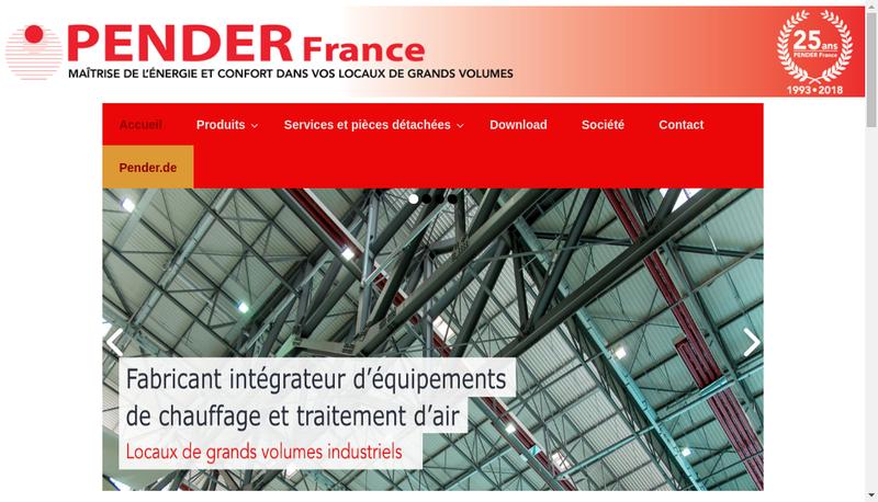 Capture d'écran du site de Pender France