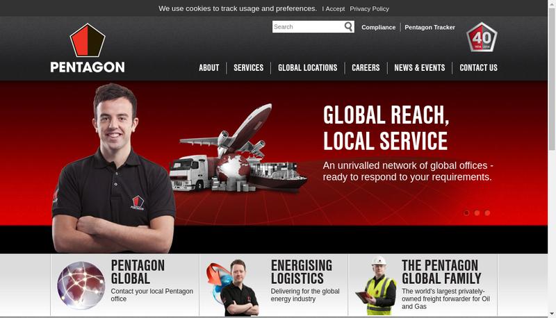 Capture d'écran du site de Pentagon Freight Services