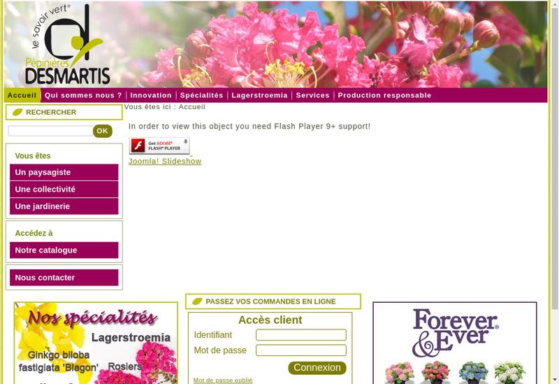 Capture d'écran du site de Pepinieres Desmartis