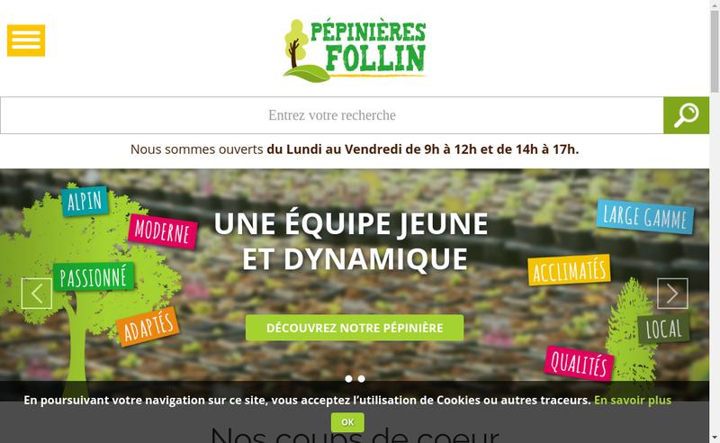 Capture d'écran du site de Pepiniere Follin et Helices Halter