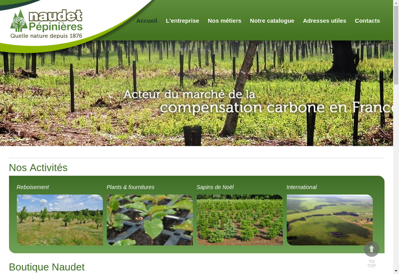 Capture d'écran du site de Pepinieres Naudet