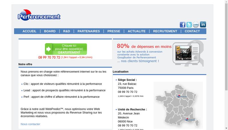 Capture d'écran du site de Full Performance