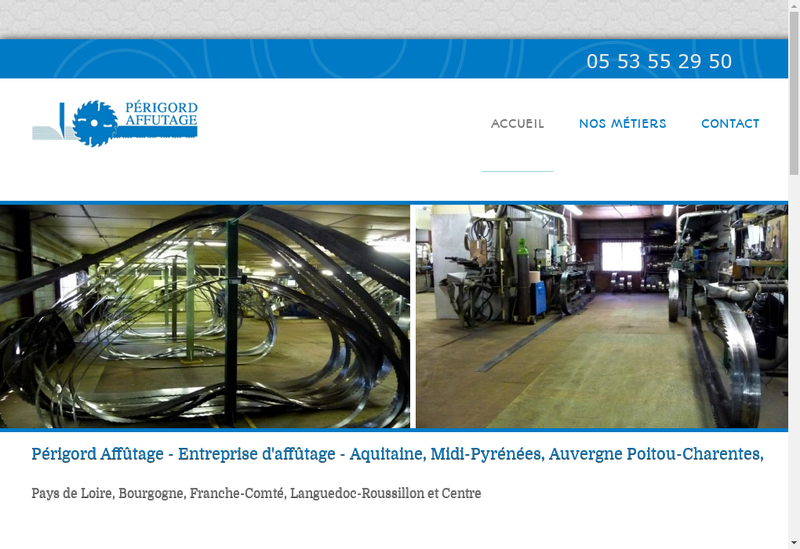 Capture d'écran du site de Perigord Affutage