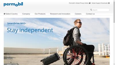 Capture d'écran du site de Permobil France SARL