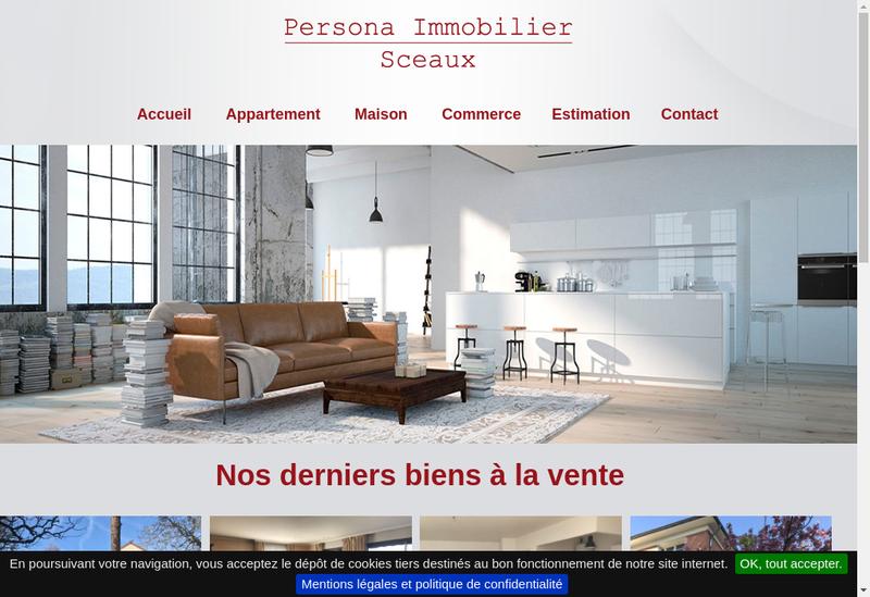 Capture d'écran du site de Persona Immobilier